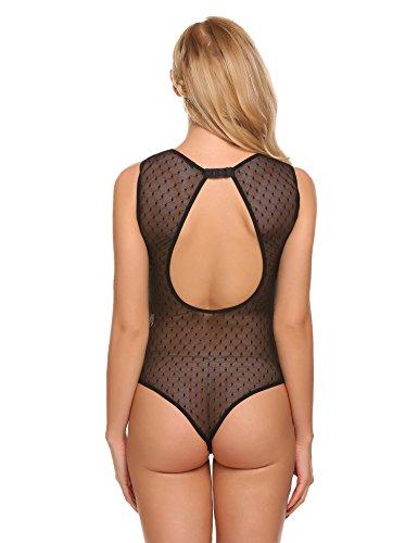 Avidlove Damen Sexy Body aus Spitze Rückenfrei Bodysuit Transparent Unterwäsche Ohne Arm Tops Overalls Negligee Unterwäsche Lingerie Schwarz