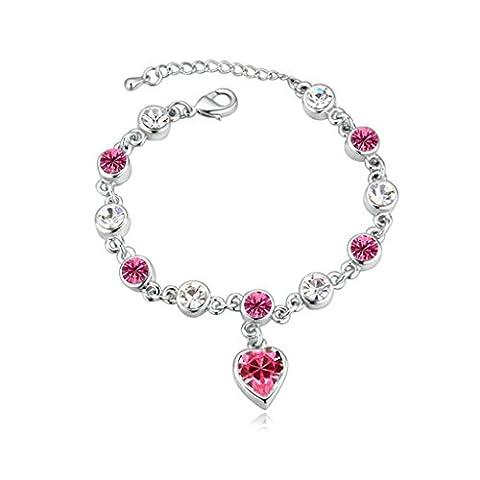 Aooaz Damen Vergoldet Armbands 3 Blumen Farben Kristall Armreif Extender Kette CZ Armband Hochzeit