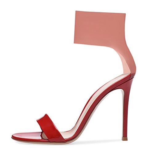 Frauen Spiky Peep-Toe Fashion Sandalen Party Hochzeit Dress Up Mädchen High Heels,Red,43