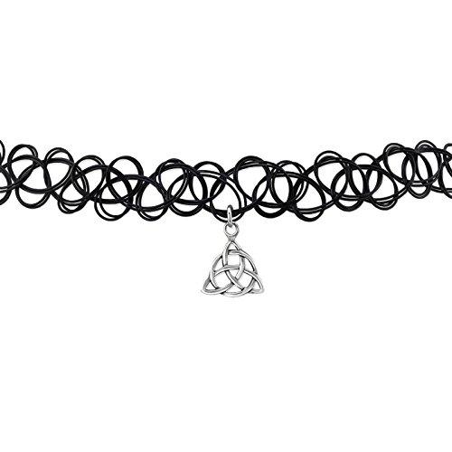 Damen-Halskette Halsband Halsreif, Nylon schwarz–Anhänger in Silber 925/000rhodiniert–Keltische Keltischer