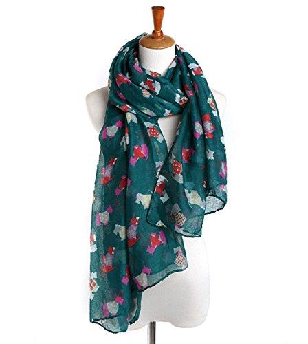 FR QLFAN Femme Girls Soft Voile Print Shawl Foulards ColorD