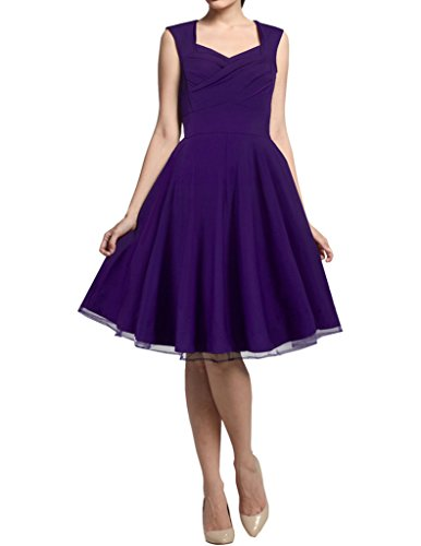 HOMEYEE Femme 1950's Vintage Bridesmaid Partie Big Swing A Line Robe B003 Violet