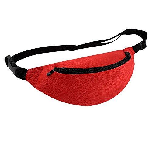 Wander-Hüfttaschen Wasserdicht Bauchtasche Jogging Tasche Gürteltasche mit Reissverschluss in 10 Farben By Sijueam Rot