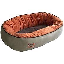 BUNNY BUSINESS - Cama de perro aterciopelada redonda de ante sintético con forro polar para gatos