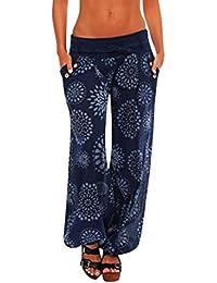 DOGZI Pantalones Mujer Verano Tallas Grandes Mujer Casual Color Sólido  Delgado De Pantalones De Pierna Ancha Cintura 378f039931bc