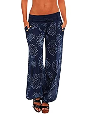 DOGZI_Pantalones Mujer Verano Tallas Grandes Mujer Casual Color Sólido Delgado De Pantalones De Pierna Ancha Cintura...