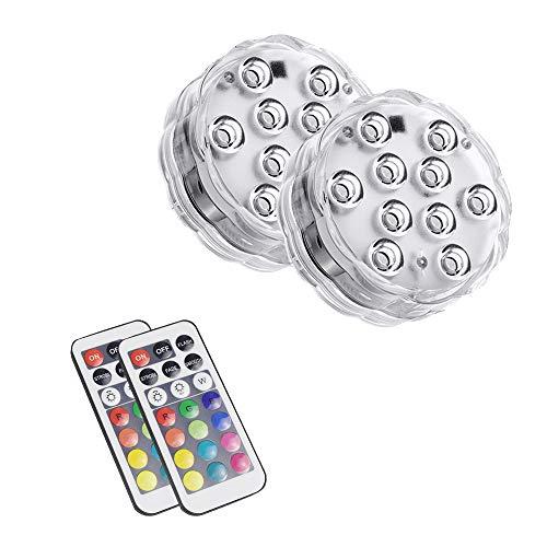 LED-Tauchleuchten mit Fernbedienung Multicolor-Unterwasseraquariumleuchten Wasserdichte, batteriebetriebene Whirlpool-Leuchte für Zimmerbrunnen Wasserfall Aquarium Badewanne Vase Pflanzendekor (2pcs) (Weihnachten Wasserfall Lichter)