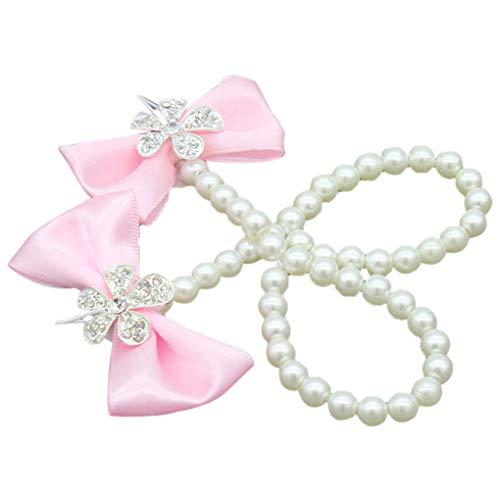 Gankmachine Baby Künstliche Perle Barefoot Schuhe Infant Bowknot Fußkettchen Sandalen Newborn Blume Fuß-Band-Ring