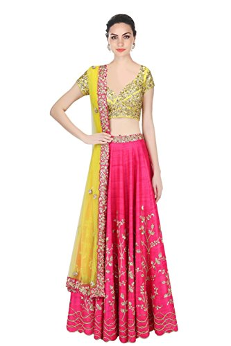New Latest Designer Party wear Pink and Yellow Color Bridal Look Heavy...