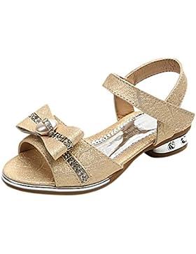 Zapatos Niña,Sandalias de bowknot de cristal para niñas Zapatos de princesa solo para niñas con pendiente LMMVP