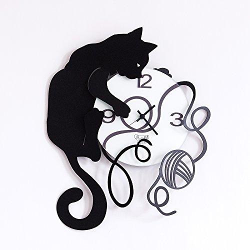 Orologio da parete in ferro gatto gomitolo design arti e mestieri colore nero cod. 2598-c75