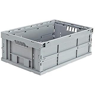 utz Faltbox aus Polypropylen - Inhalt 43 l, LxBxH 600 x 400 x 225 mm - grau, VE 4 Stk - Box Faltbox Kasten Klappbox Kunststoffbehälter Kunststoffstapelbehälter Stapelbox Stapelkasten aus Kunststoff Transportkiste aus Kunststoff Kunststoff-Sstapelbehälter
