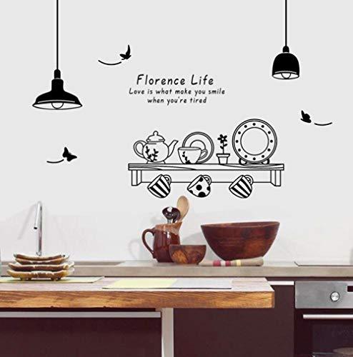Schwarz Geschirr Kronleuchter Schüssel Wandaufkleber Küche Restaurant Schaufenster entfernbare PVC selbstklebende Papier 60 * 90cm - Große Schüssel Kronleuchter