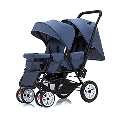 STRR Cochecito Doble |Compacto, Ligero Cochecito Doble |Quick Fold Cochecito de bebé, 5-Point Arnés y Alta Capacidad Cesta