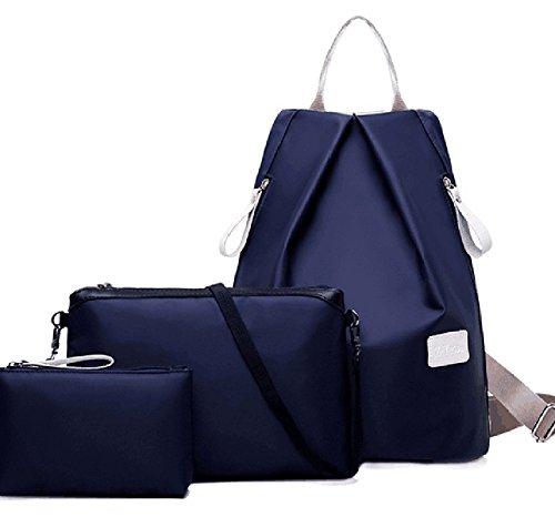 Faithtur Set bestehend aus Damen-Rucksack, Schultertasche und Handtasche für Frauen und Mädchen oder das Kinderzimmer dunkelblau