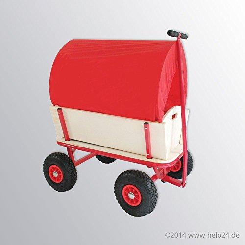 Bollerwagen mit 150 Kg Tragkraft aus extrem fester Stahlrohrkonstruktion pulverbeschichtet, verstärkte Ablagefläche, 4 Luftreifen, Rot