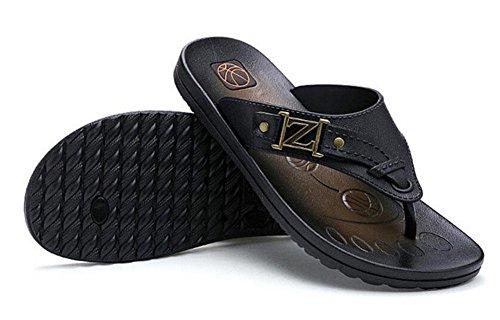 GLTER Uomini Flip Flops Pantofole Traspiranti Estive Beach Sandali Casuali Black