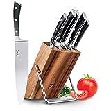 Fac Set de 5 Couteaux Professionnels avec Lame en Acier Inoxydable et Carbone : Chef, Pain, Viande, Office et Cuisine   Kit C