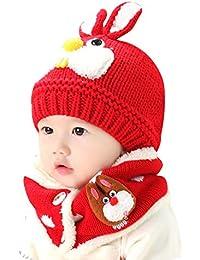 cd56243ca303a Beanie Kid Gargantilla Chica Garcon Hat Bufanda 2 piezas Conjunto de lana de  punto de invierno
