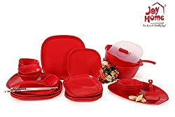 Joy Home Microwave Safe Dinner Set-32 pcs Square Cherry Red