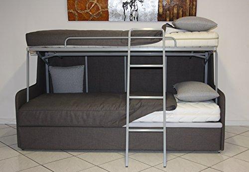 Ponti divani - tris - divano letto a castello con tre letti materassi sfoderabili compresi e meccanismo innovativo produzione italiana ecopelle bianca