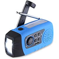 Emergencia Solar Manivela, Unionshopping Self Powered FM Weather Radio, 1W LED Flashlight, Weather Radio Built-in 2000mAh Power Bank, USB Port and Micro Cables (Azul)