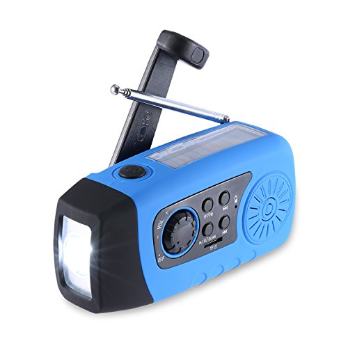 Solar Radio, Unionshopping Tragbare Solar Notfall-Hand-Kurbel Self Powered FM Radio mit [2000mAh] USB-Energien-Bank, LED-Taschenlampe, MP3-TF-Karte Unterstützung für Outdoor-Camping-Wandern