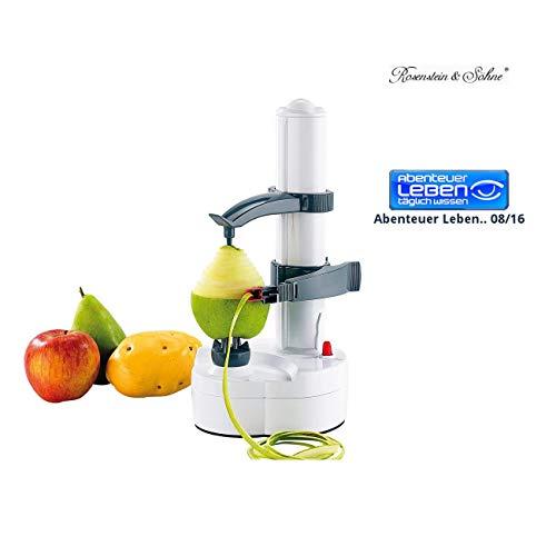 Rosenstein & Söhne Orangenschäler: Elektrischer Obst- und Gemüseschäler, Edelstahl-Klinge (Orangenschäler elektrisch)