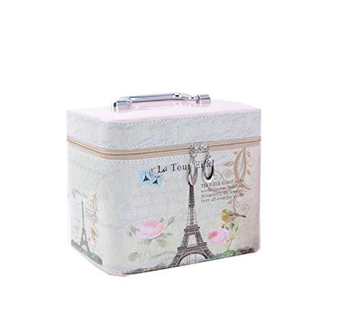 Hnks Make-up-Box, High-End-Eiffelturm mit großer Kapazität, Arc De Triomphe Kosmetikkoffer, tragbarer Reisekosmetikkoffer, Beauty-Nagel-Schmuck-Aufbewahrungsbox mit Spiegel (Design : 1#, Size : L) (Tragbarer Make-up-spiegel)