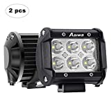 AAIWA Foco LED,4 Pulgada 2x18w Faro Luz para Tractores,Focos para 4x4,de Trabajo 12V 24V 2x18W Antiniebla,Luces IP67 Impermeable para Coche,Todoterren