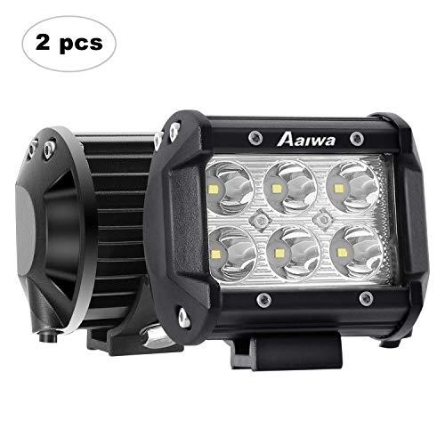 AAIWA Phare de Travail à LED, 4'' 18W Phare LED Voiture 2 Pièces 12V 24V Spot LED Feux Antibrouillard pour Camion, Off Road, 4x4, SUV, UTV, Bateau, 2 Ans de Garantie