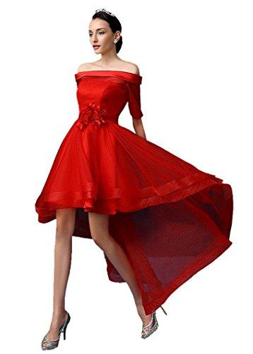 Rot Kleid Graduation (Beauty-Emily Rosette Asymmetrische Short Vor halbe Hülsen-Boot-Ausschnitt Schulterfrei Transparent-Leistungs-Kleid Brautjungfer Graduation Abendkleider Farbe Rot. Größe 44)