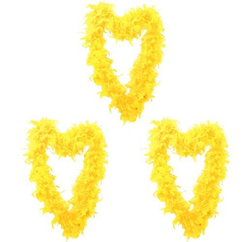 ILOVEFANCYDRESS Confezione di 3 Boe di Piume Gialle PERFETTE per Abito Elegante 180CM E Boas di Piume 80GR PERFETTE per Cervi, Abiti Eleganti O Feste di Abiti di Fantasia in Confezioni da 3