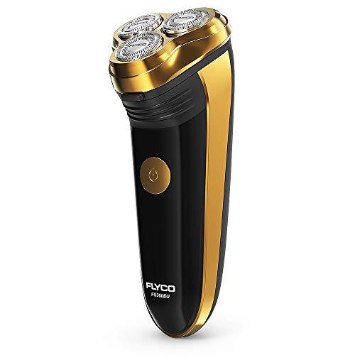 FLYCO Rasoio Elettrico,Rasoio Elettrico da Barba con Testine Rotanti Dry da Uomo,Regolabarba Rasoio Barba Elettrico Barba con Trimmer,60 Minuti di Uso Senza Filo