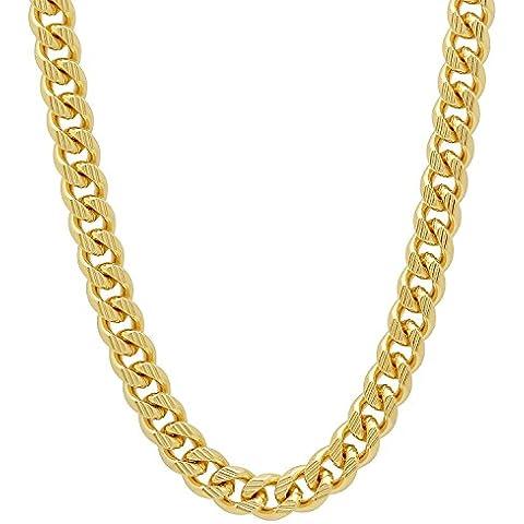 7mm, placcato oro 14carati con rigato, Cuban catena collana Link