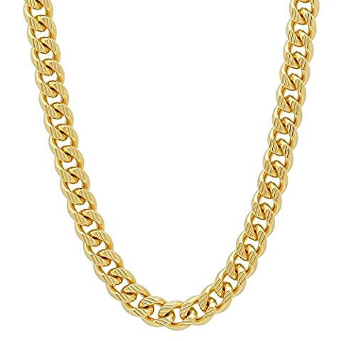 7mm 14k Gold Plated Grooved Cuban Link Curb Chain Necklace, 76 cm + Microfiber Jewelry Polishing Cloth