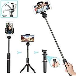 LATEC Perche Selfie Trépied, Bluetooth Selfie Stick 3 en 1 Monopod Extensible Mini Pocket sans Fil Rotation à 360 ° pour iPhone/Android Téléphones Samsung Galaxy jusqu'à 3,5-6 Pouces