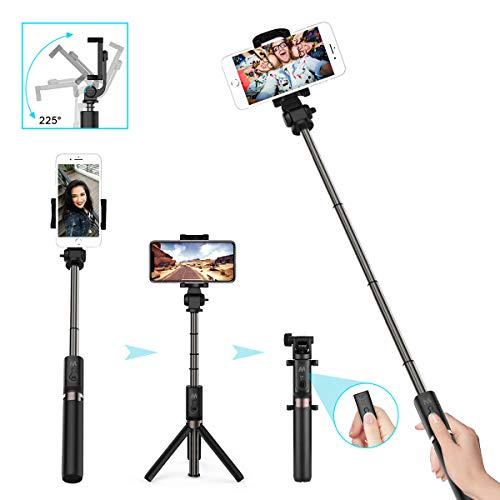 LATEC Bastone Selfie Treppiede, 3 in 1 Mini Monopiede Allungabile Wireless Bluetooth Selfie Stick Rotazione a 360 ° per iPhone XS/XR/X / 8 Plus / 8/Samsung Galaxy Fino a Telefoni 3,5-6 Pollici