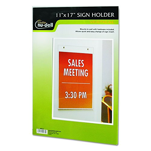 NuDell 38017Z Clear Plastic Sign Holder, Wall Mount, 11 x 17