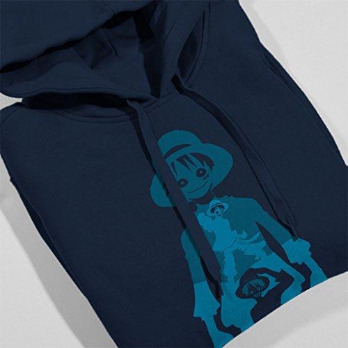 One Piece Monkey Luffy Multi Portrait Women's Hooded Sweatshirt Navy blue