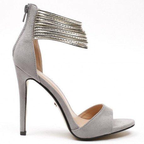 Ideal Shoes - Escarpins effet daim avec multi brides nacrés Vaitena Gris