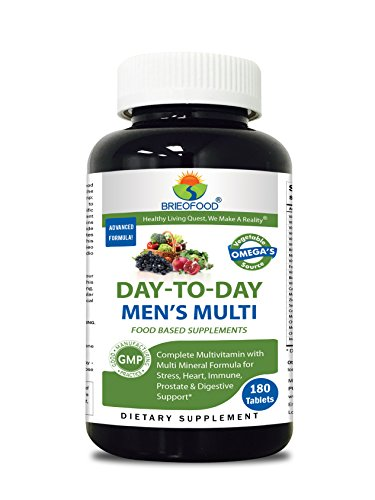 Briofood Food Based Multivitamin with Vegetable Source Omega Day-to-day Mens Multi Tablets, 180 Count