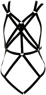 Punk Gothic Style Harness BH, lichaamsshirt, set strapse, zacht en elastisch, verstelbaar