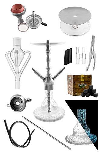 Kaya-Shisha INOX Sebulba Tripod - Edelstahl Shisha Set - 71 cm - 16-teilig mit dreiarmigem Glas Schaft/Molassefänger, Schlauch Set und Silikon Kopf + GRATIS Shisha Kohle + Kohlezange (Glow) -