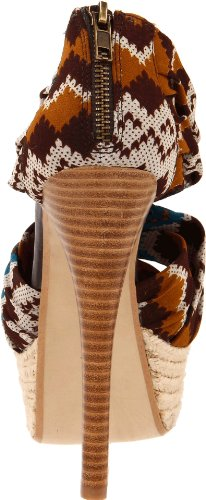 Chinese Laundry Turn It Up Femmes Toile Talons Compensés Brown Multi