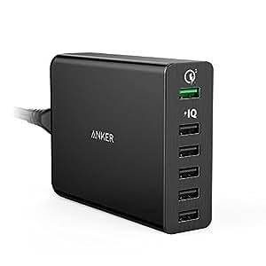 Anker PowerPort+ 6 Premium 60W 6-Port USB Ladegerät mit Quick Charge 3.0 und Power IQ für Galaxy S6 / Edge / Plus, Note 5 / 4, LG G4, HTC One M8 / M9, Nexus 6, iPhone 7 und andere Smartphone (Schwarz)