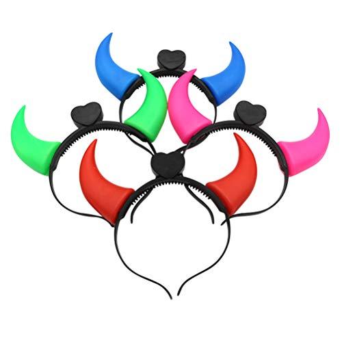 Amosfun Stirnband Hörner LED Stirnband Teufelsohren Haarband Haarreifen für Kinder Karneval Halloween Party Haarschmuck 10 Stücke (Zufällige Farbe)