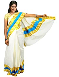 Creaweaves Milk Cream Colour Kerala Cotton Kasavu Gold Peacock With Blue Border Saree And Attached Blouse