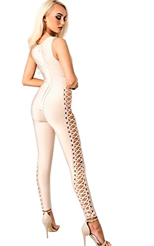 Women's Ladies Stunning Glam Celeb Party Bandage Jumpsuit Nude