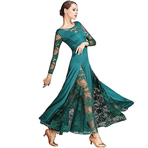 Elegante Große Schaukel Moderne Praxis Rock Mesh, Ballroom Dance Kostüme Langarm Trikot Einfache Tango Kleider Für Frauen (Farbe : Dunkelgrün, größe : - Waltz Dance Kostüm